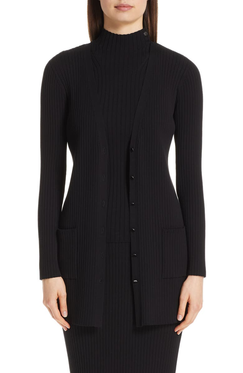 St John Collection Flat Rib Knit Cardigan