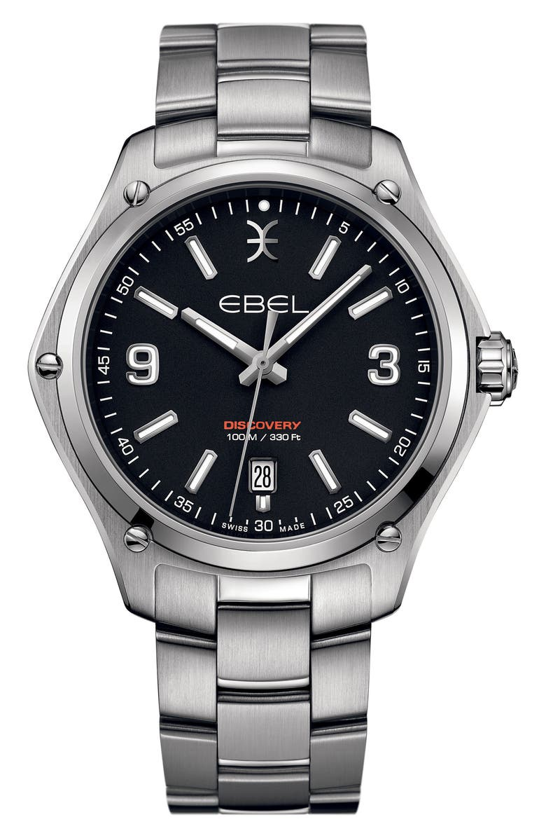 EBEL Discovery Bracelet Watch, 41mm, Main, color, SILVER/ BLACK/ SILVER