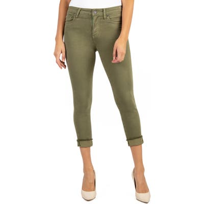 Petite Kut From The Kloth Amy Crop Straight Leg Jeans, Green