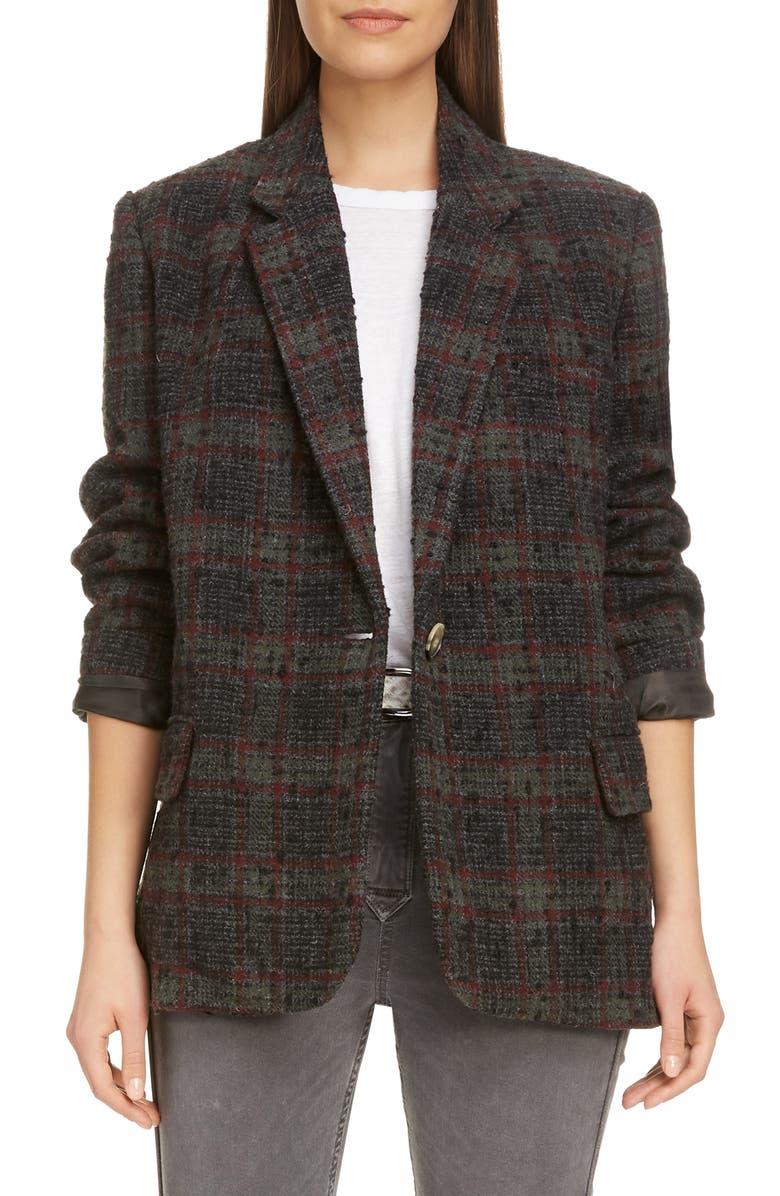 ISABEL MARANT ÉTOILE Korix Wool Blend Jacket, Main, color, KHAKI
