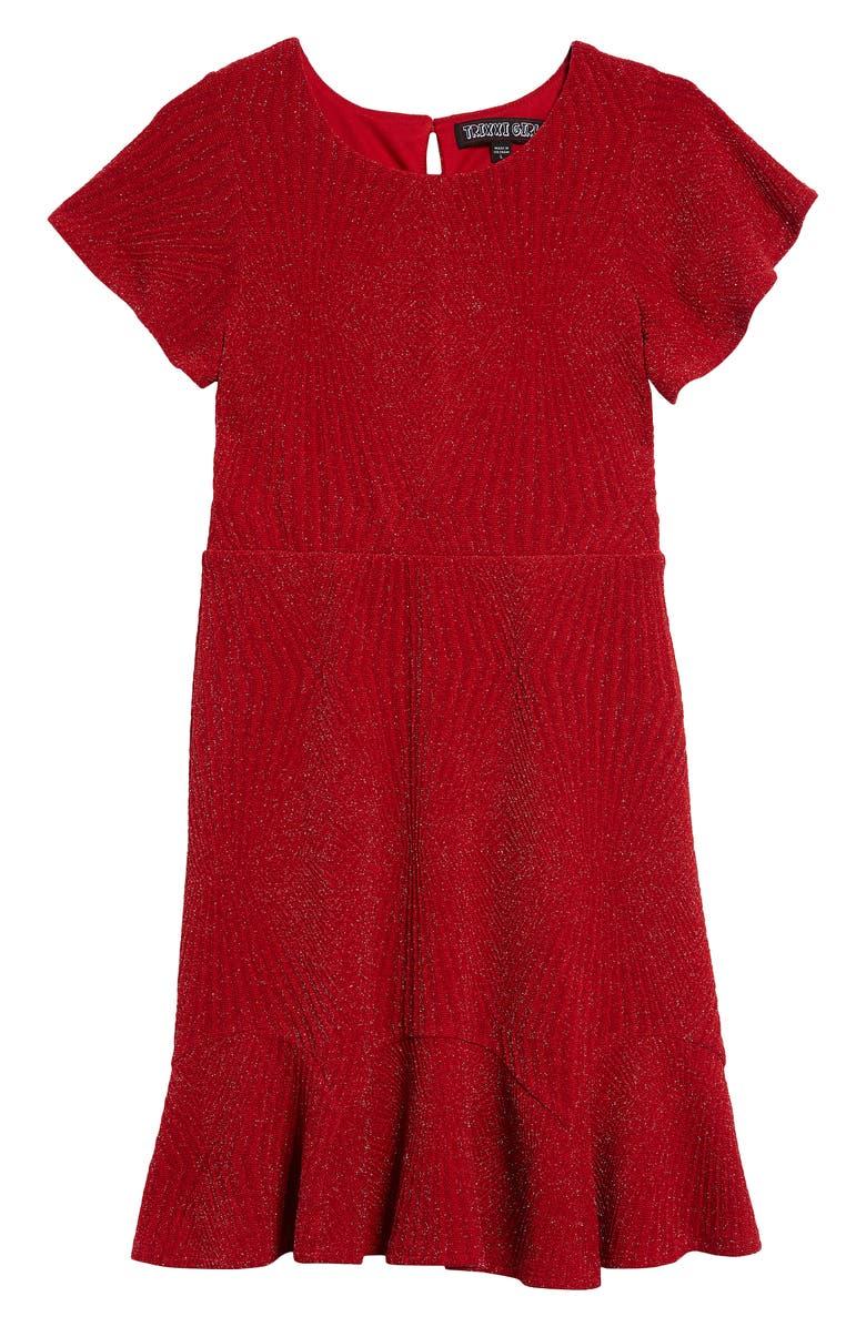 TRIXXI Glitter Flutter Sleeve Dress, Main, color, RED