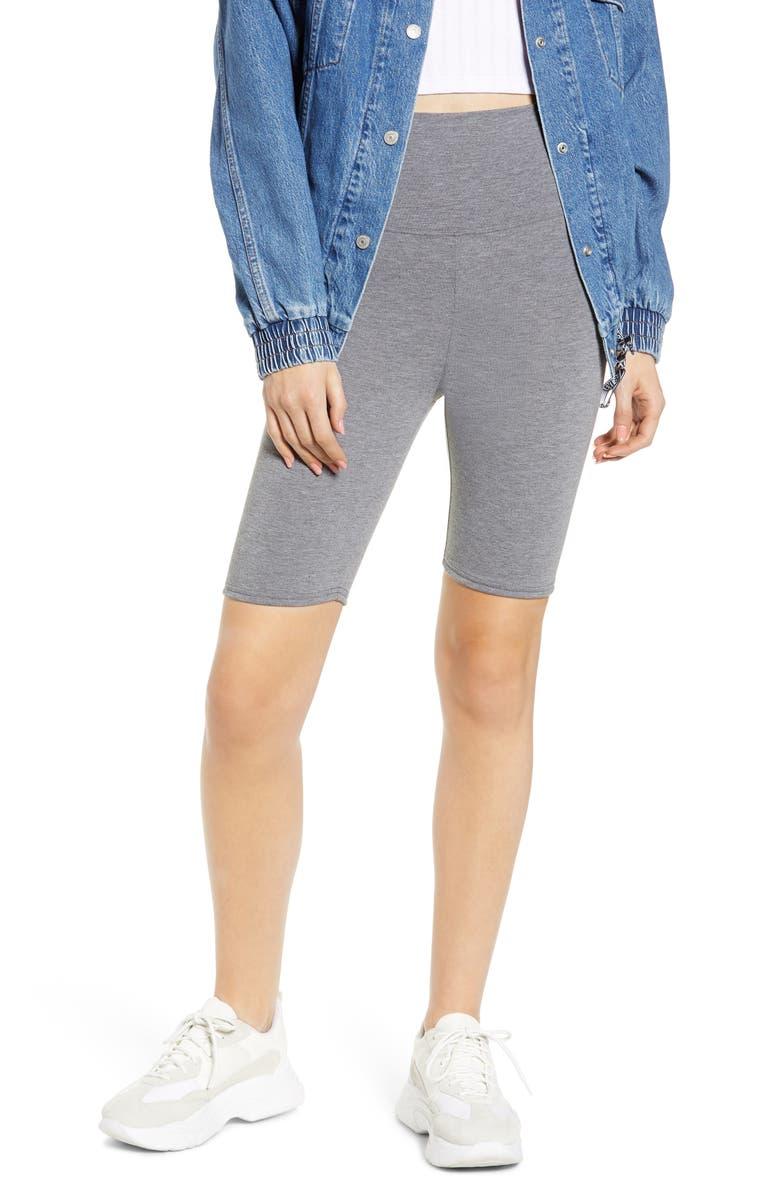 MAKE + MODEL High Waist Biker Shorts, Main, color, GREY CLOUDY HEATHER