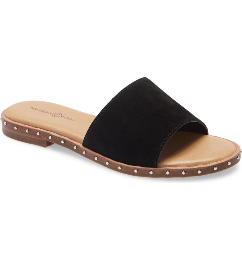 TREASURE & BOND Mila Slide Sandal, Main, color, BLACK SUEDE