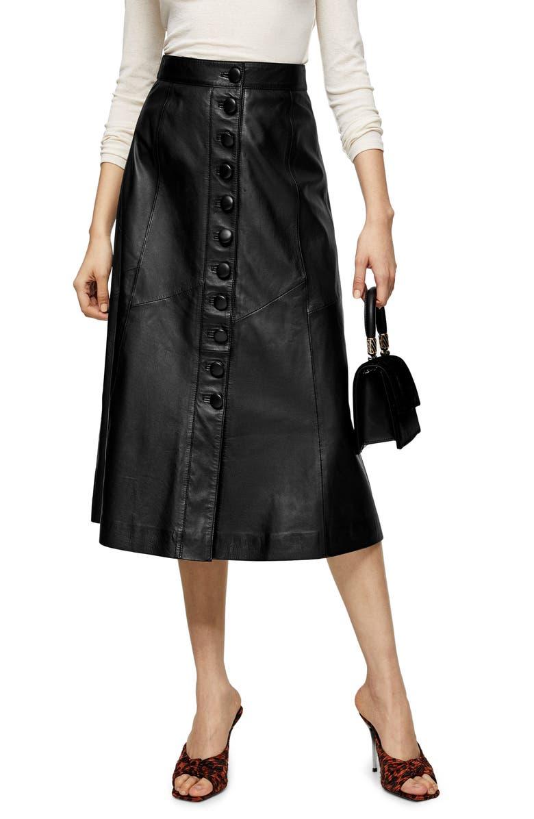 TOPSHOP Leather Button Midi Skirt, Main, color, BLACK