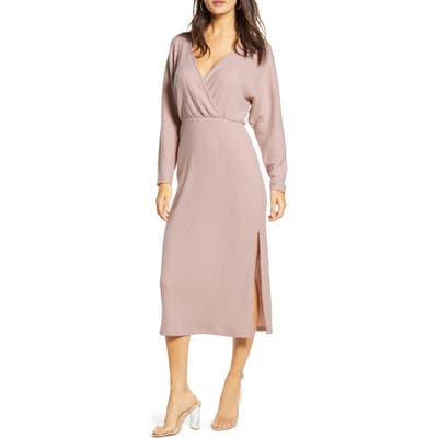 All In Favor Cozy Ribbed Midi Dress, Pink