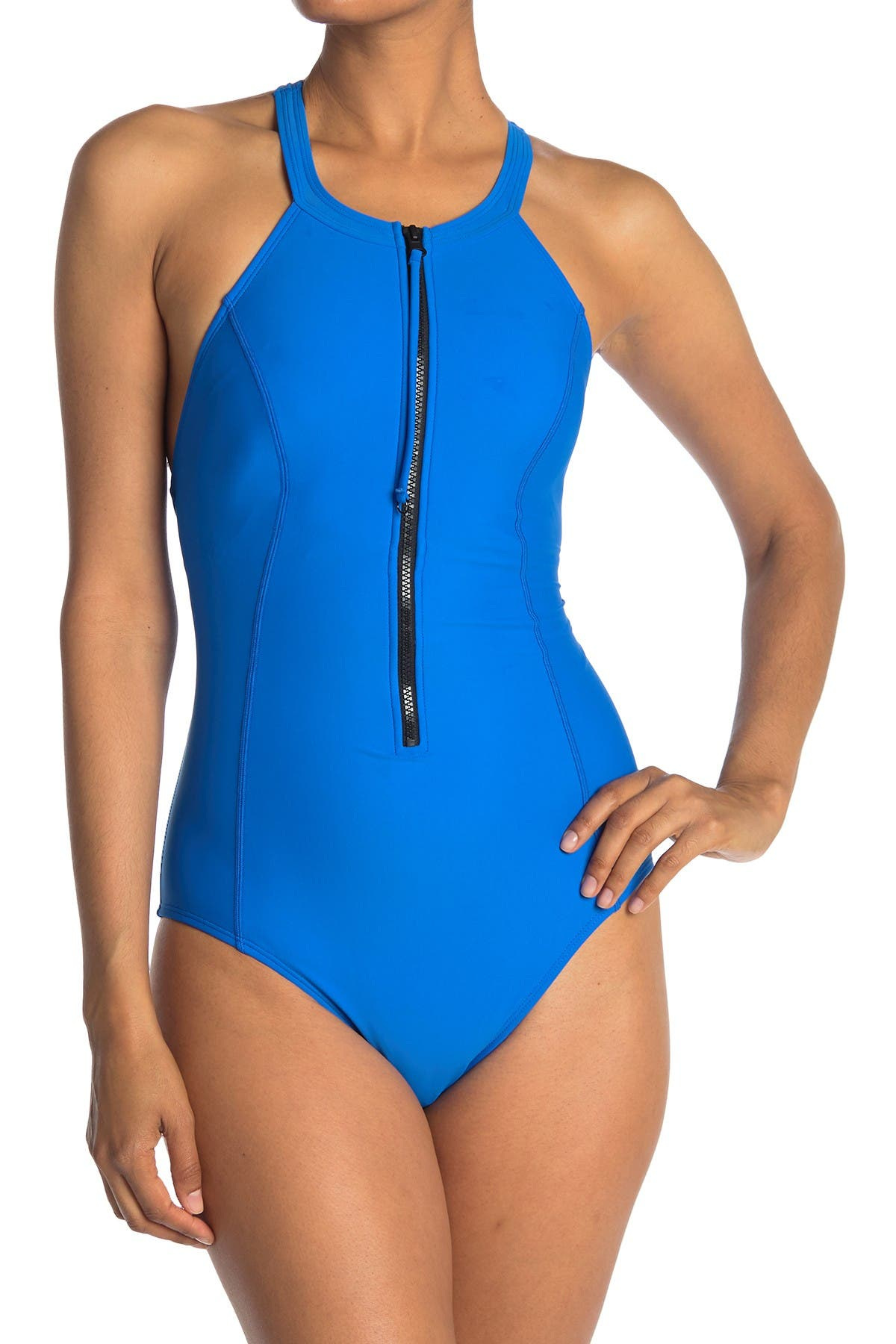 Image of Reebok Zip Front One-Piece Swimsuit