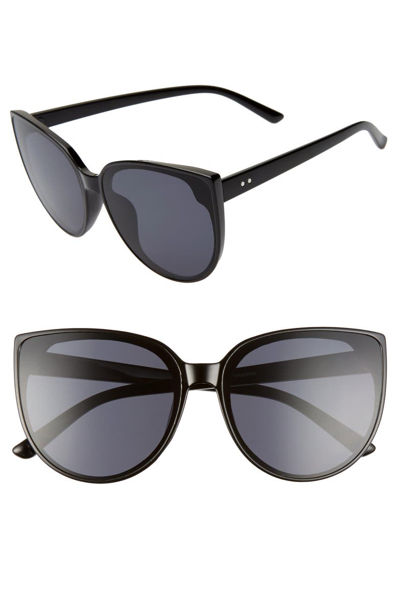 BP. 60mm Cat Eye Sunglasses, Main, color, BLACK