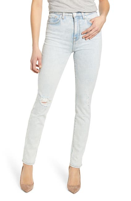 Image of 7 For All Mankind High Rise Distressed Skinny Jeans
