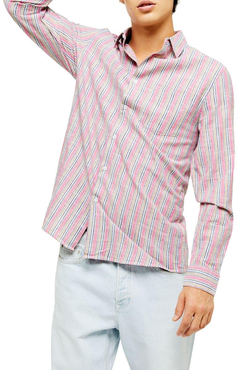 TOPMAN Slim Fit Stripe Button-Up Shirt, Main, color, PINK MULTI