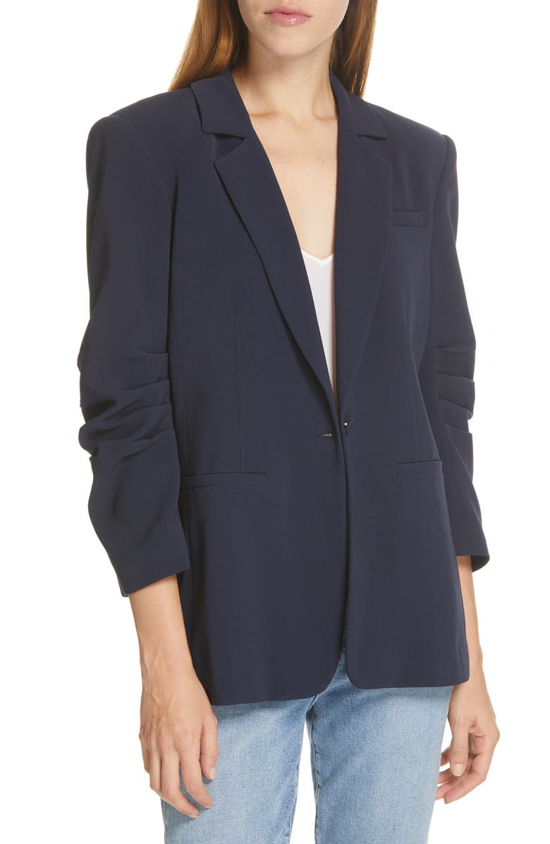 CINQ À SEPT Khloe Ruched Sleeve Blazer, Main, color, NAVY