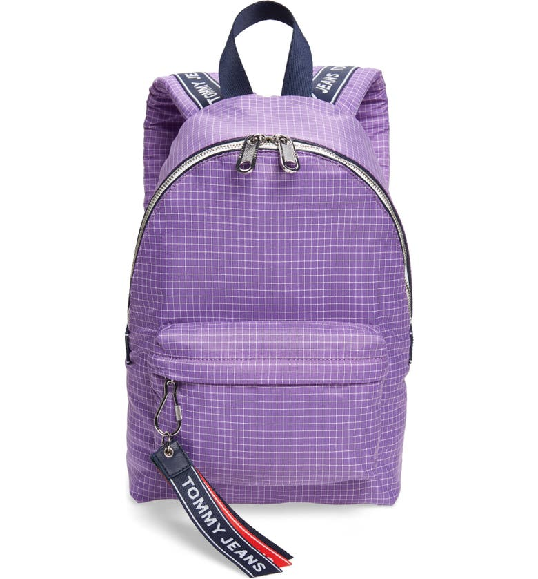 TOMMY JEANS Logo Tape Ripstop Nylon Backpack, Main, color, HYACINTH