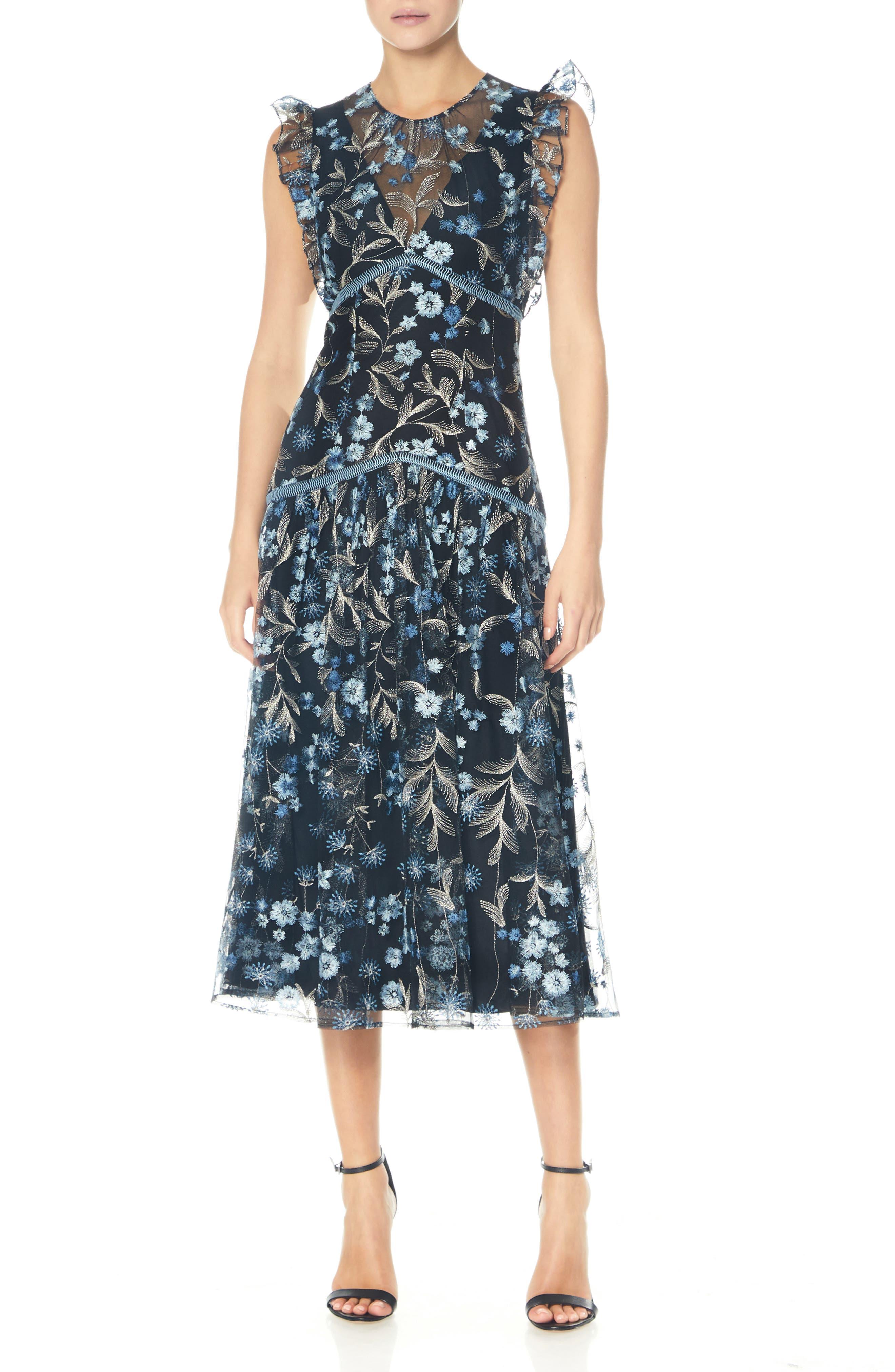 Embroidered High Neck Midi Dress