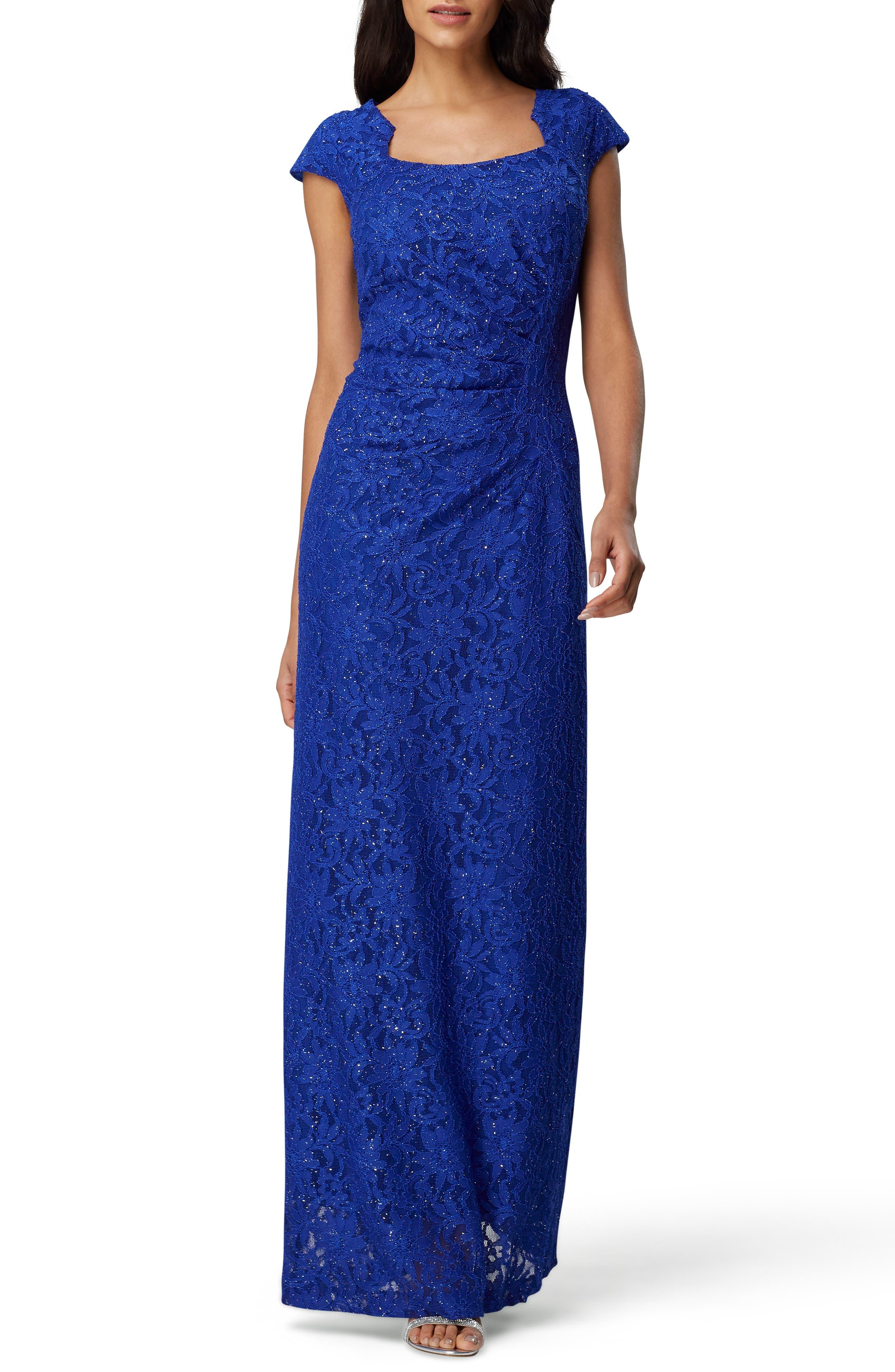 Tahari Lace Cap Sleeve Gown, Blue
