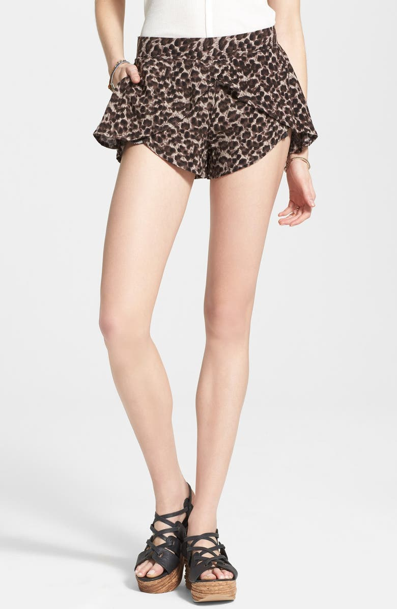 FREE PEOPLE 'Extreme Crossover' Leopard Print Shorts, Main, color, 020