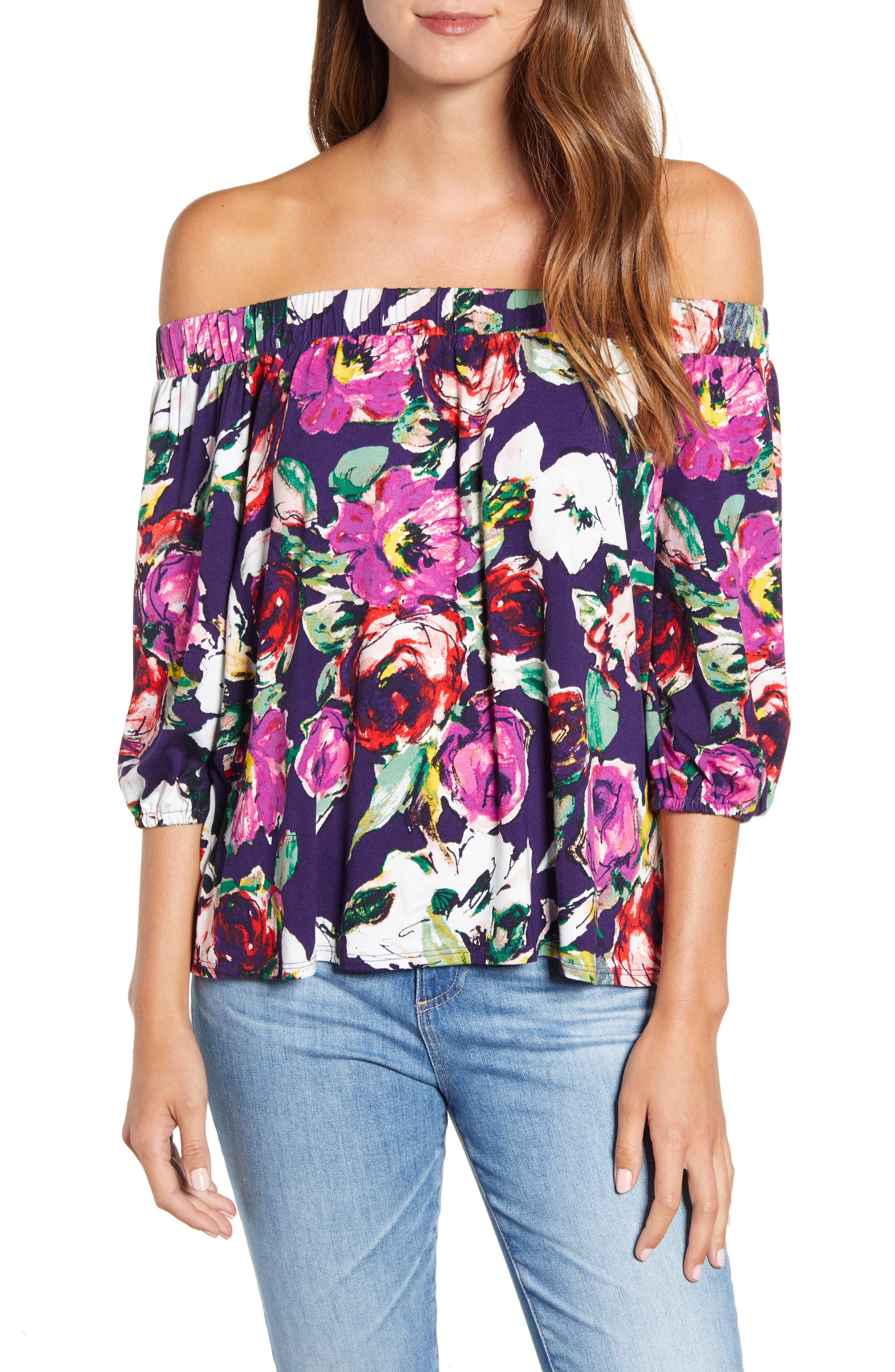 Women's Loveapella Floral Off The Shoulder Top