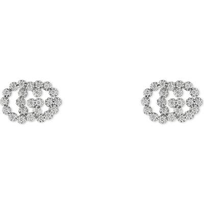 Gucci Gg Running Diamond Stud Earrings