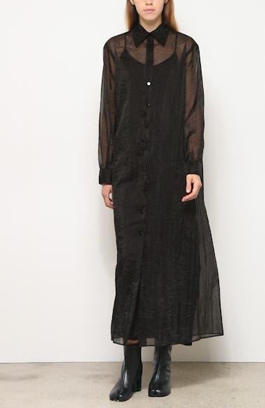 Long Sleeve Sheer Organza Maxi Shirtdress, video thumbnail