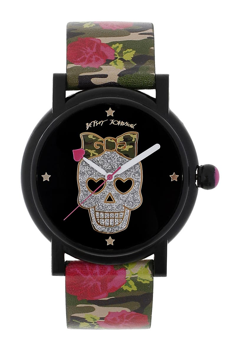 BETSEY JOHNSON Graphic Dial Print Strap Watch, Main, color, ROSE PRINT