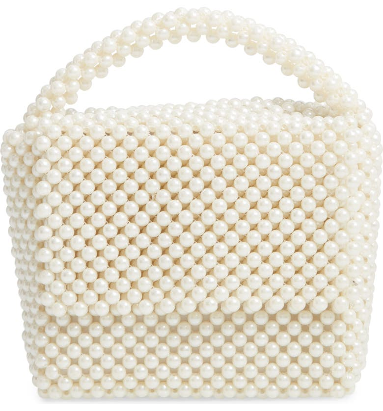 SKINNYDIP Gia Imitation Pearl Top Handle Handbag, Main, color, 100