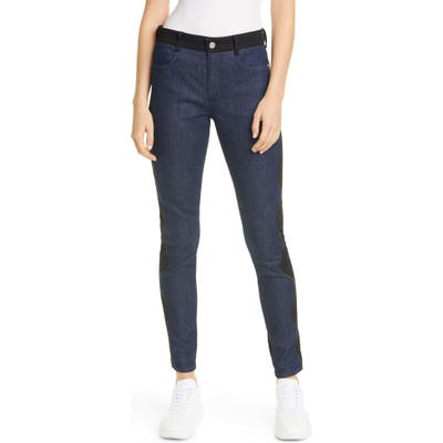 Stella Mccartney Wave Embroidered Contrast Skinny Jeans, Blue