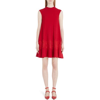 Valentino Lace Inlay Sweater Minidress, Black