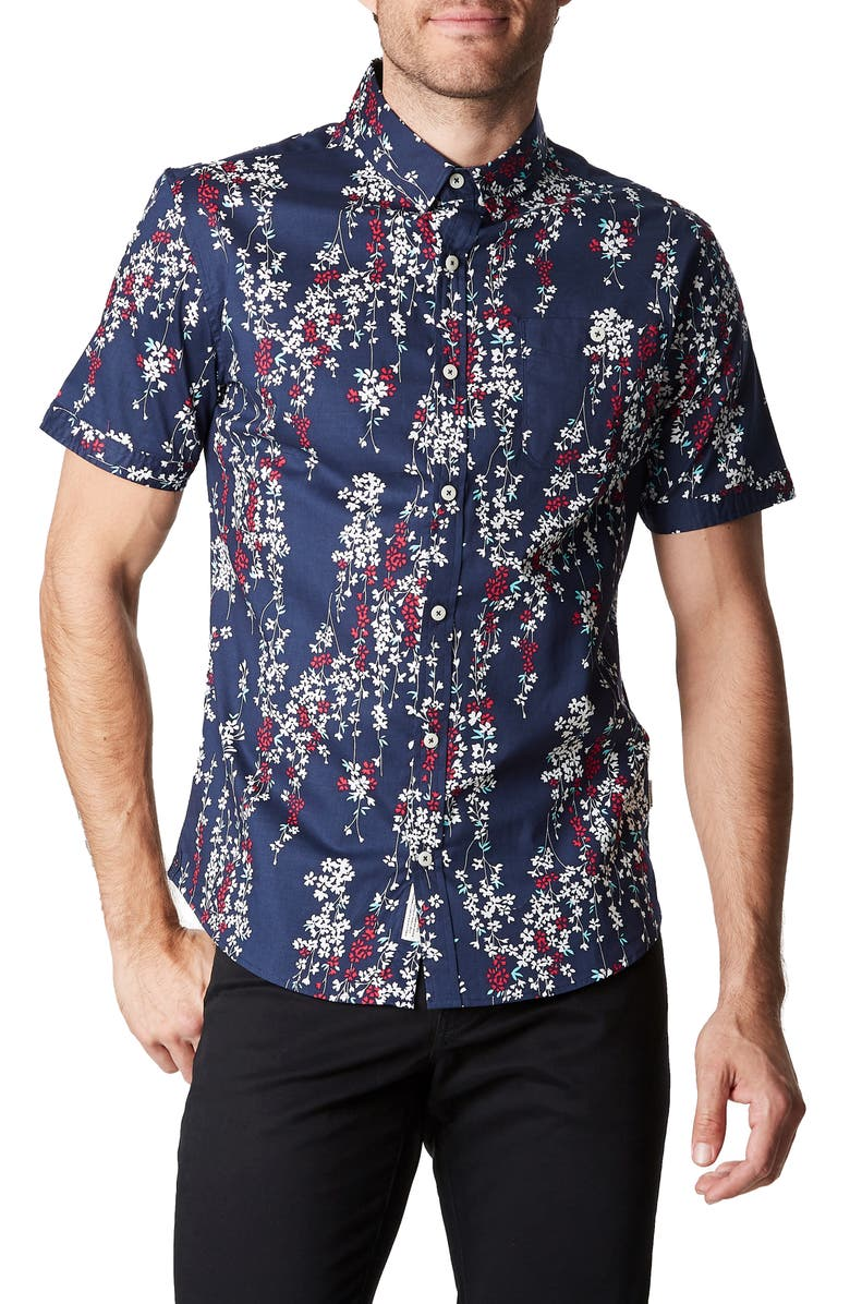 7 DIAMONDS Ready or Not Slim Fit Floral Short Sleeve Button-Up Sport Shirt, Main, color, 410