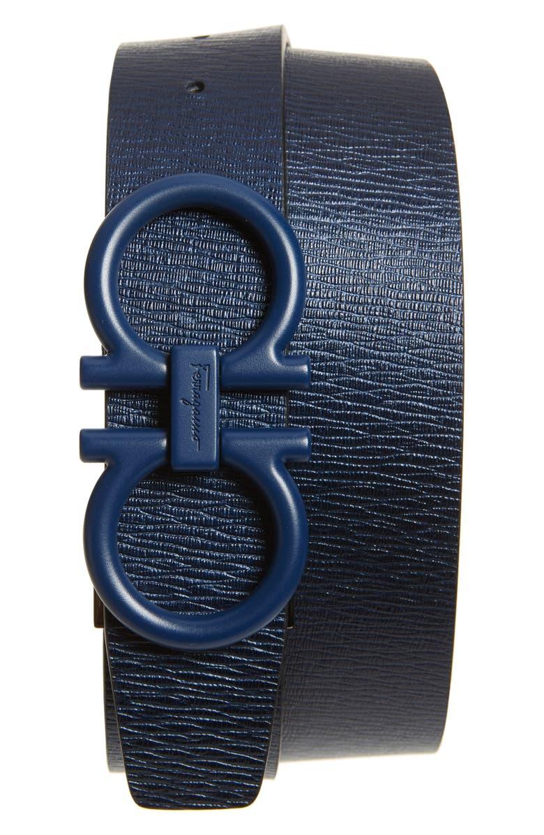 SALVATORE FERRAGAMO Leather Belt, Main, color, NAVY