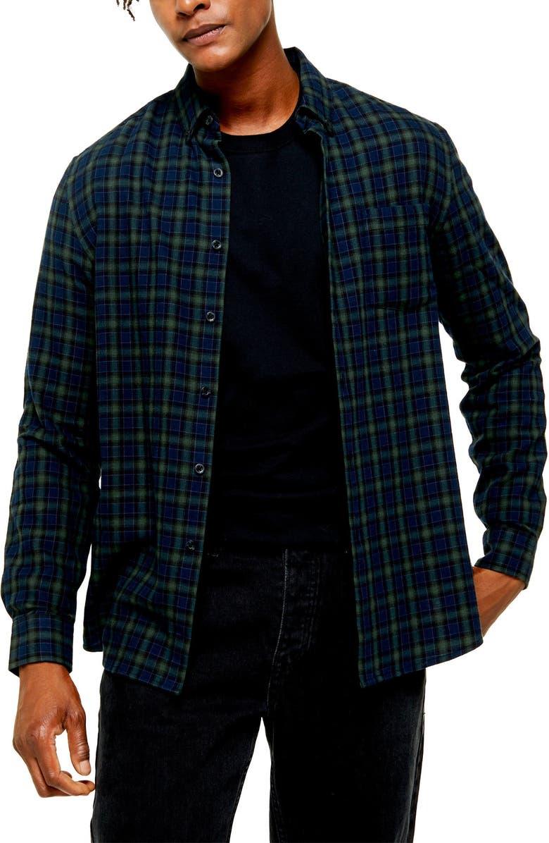 TOPMAN Check Slim Fit Button-Down Shirt, Main, color, GREEN MULTI