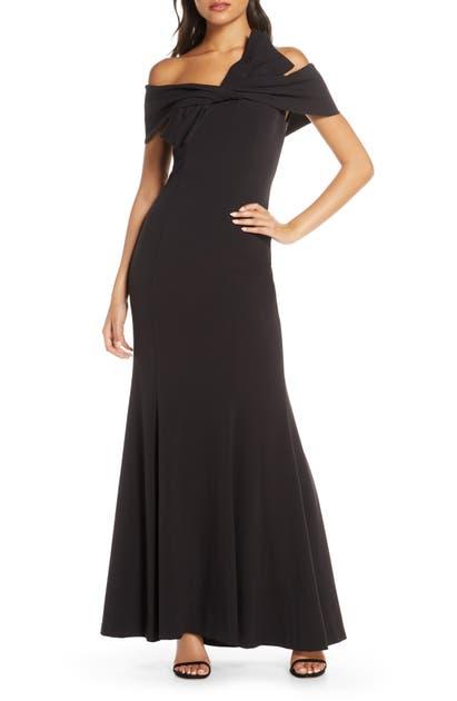 Eliza J Off The Shoulder Bow Detail Trumpet Gown In Black