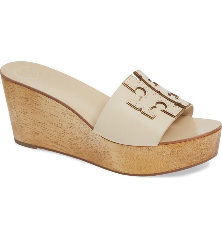 TORY BURCH Ines Wedge Slide Sandal, Main, color, NEW CREAM / GOLD