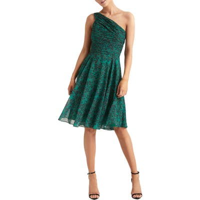 Halston Heritage One-Shoulder Pleated Cocktail Dress, Green