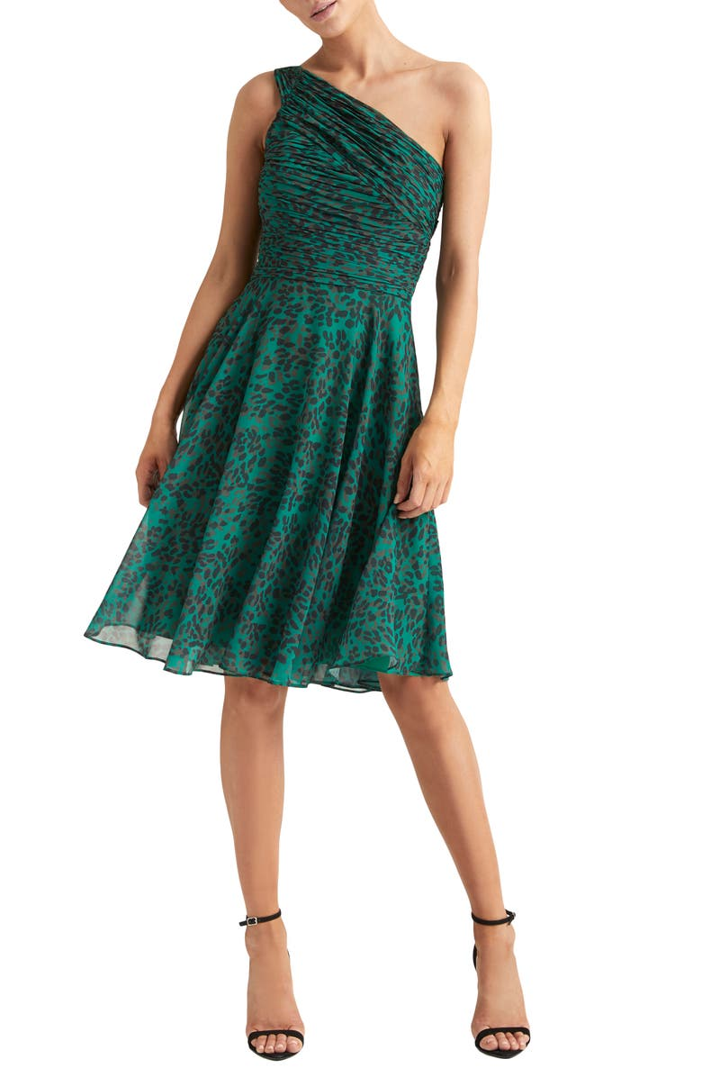 HALSTON HERITAGE One-Shoulder Pleated Cocktail Dress, Main, color, EMERALD TEXTURE CHEETAH PRINT