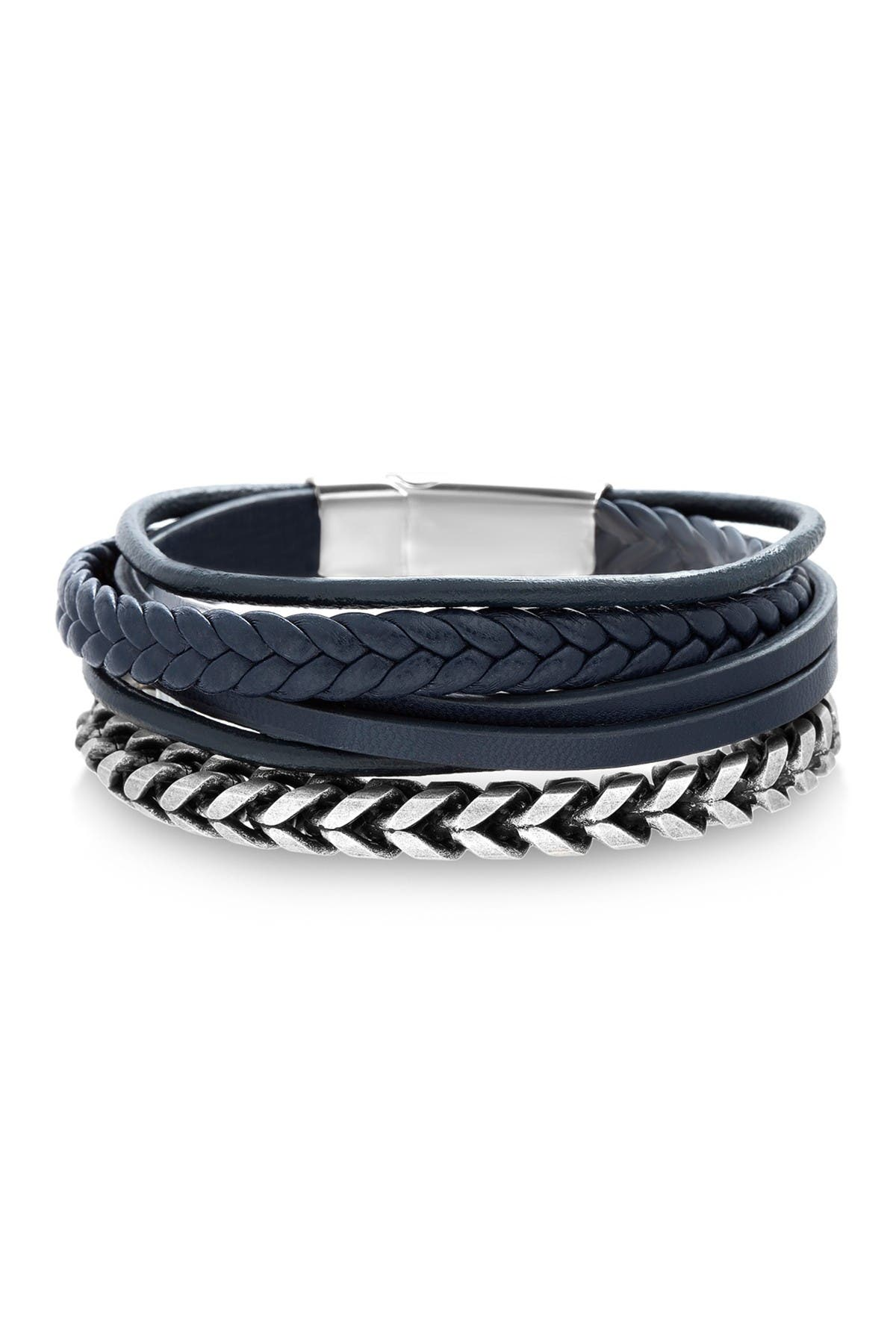 Image of Steve Madden Oxidized Curb Chain & Multi-Stranded Leather Duo Bracelet Set