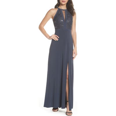 Morgan & Co. Lace & Jersey Gown, /4 - Grey