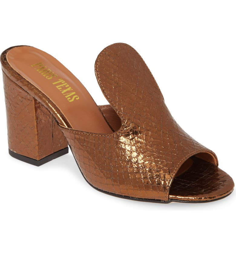 PARIS TEXAS High Mule Slide Sandal, Main, color, BRONZE METALLIC SNAKE