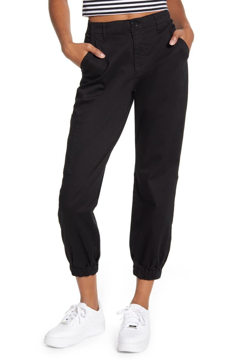 BP. Stretch Twill Joggers, Main, color, BLACK