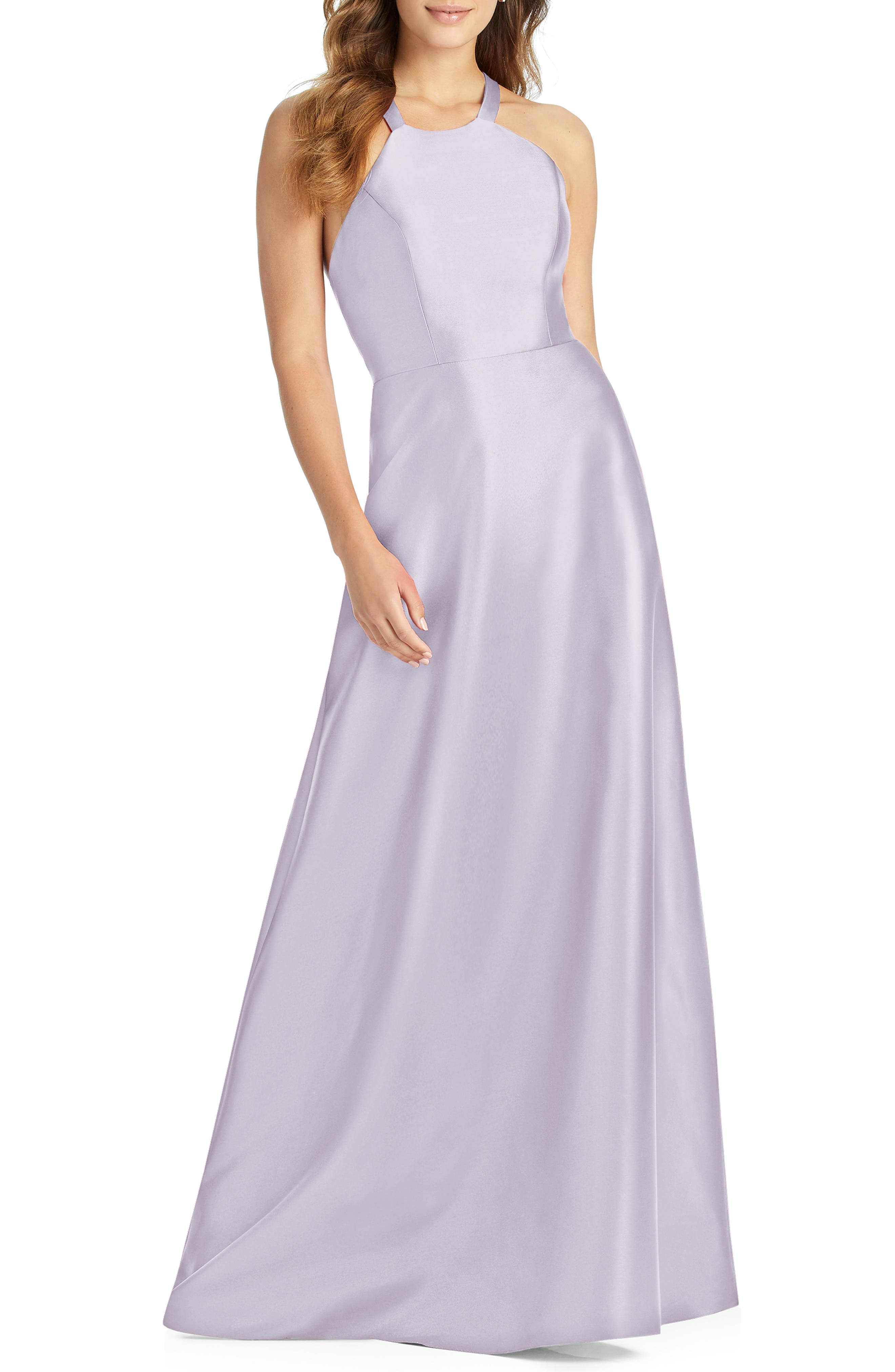 Alfred Sung Lace-Up Back Sateen Twill Gown, Purple