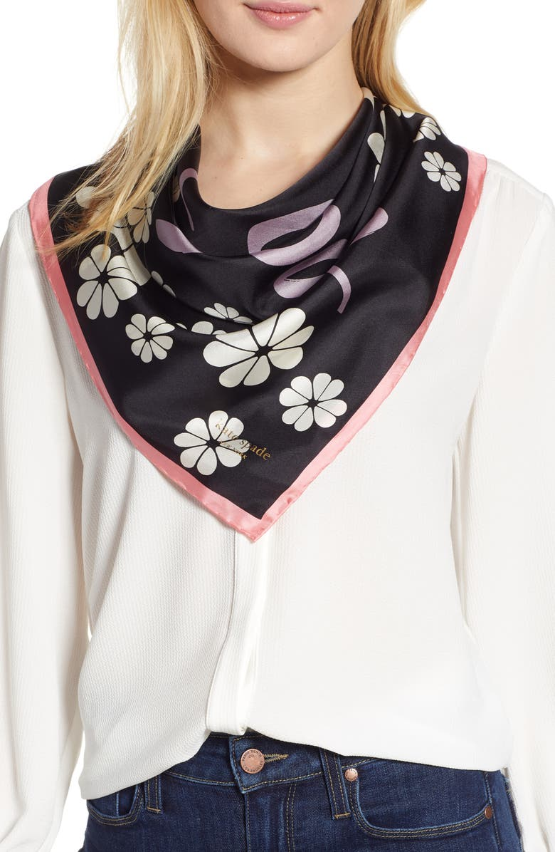 KATE SPADE NEW YORK floral silk scarf, Main, color, 001