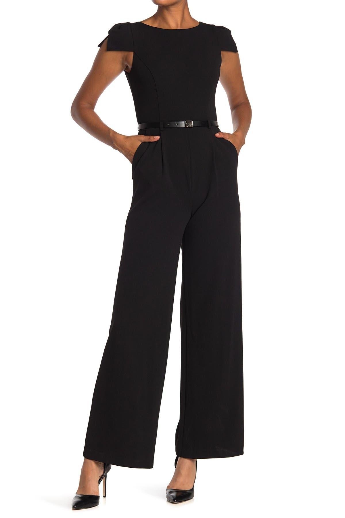 Image of Calvin Klein Cap Sleeve Belted Jumpsuit