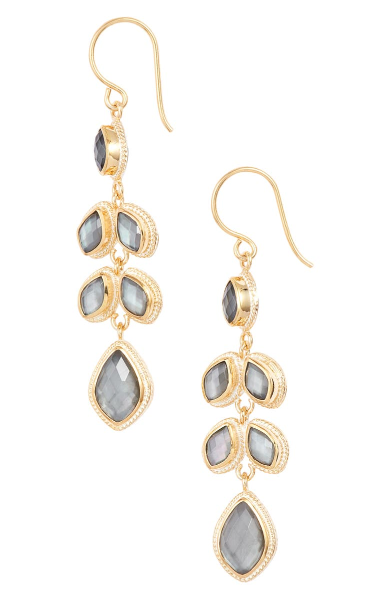 ANNA BECK Quartz Kite Chandelier Earrings, Main, color, GOLD/ GREY QUARTZ