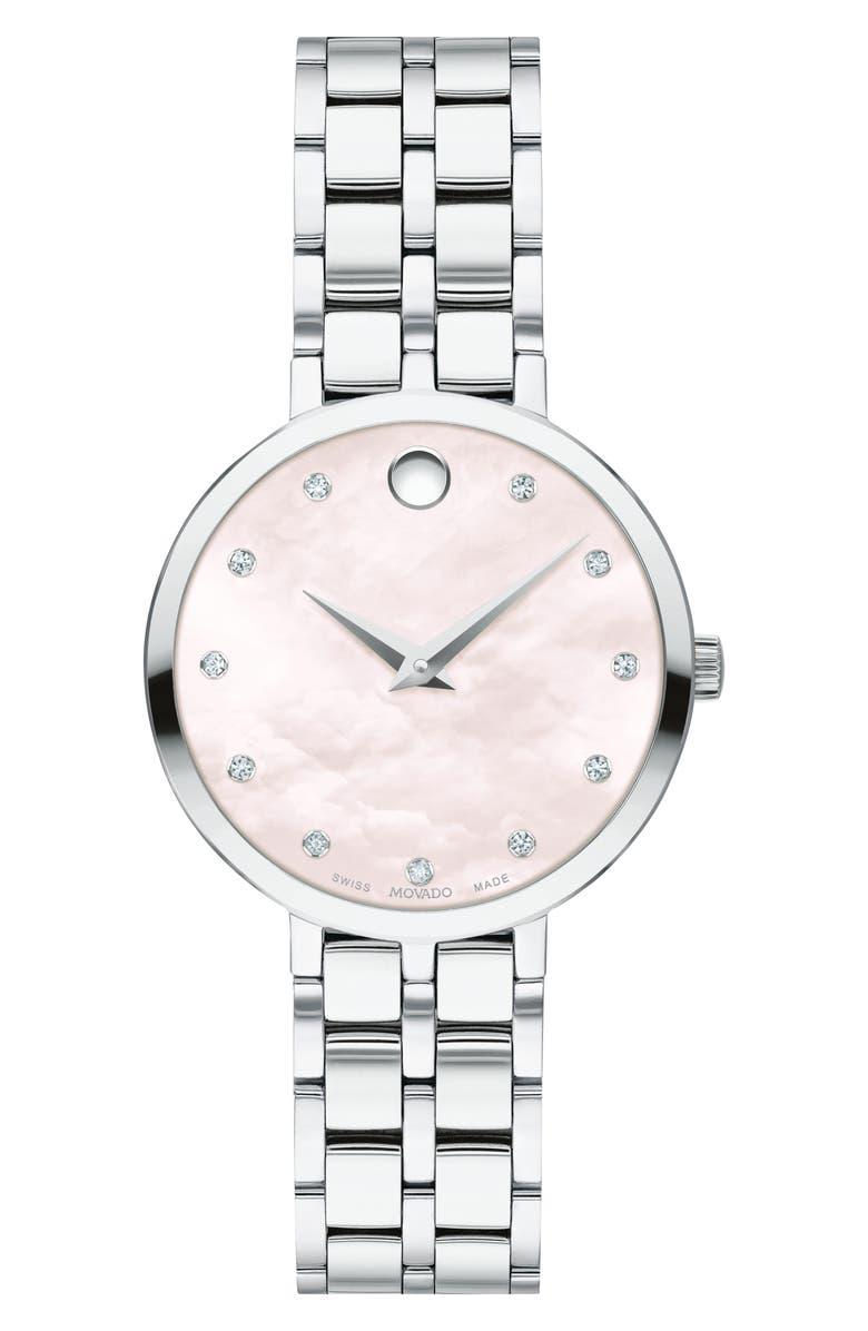 MOVADO Kora Bracelet Watch, 28mm, Main, color, SILVER/ PINK MOP/ SILVER