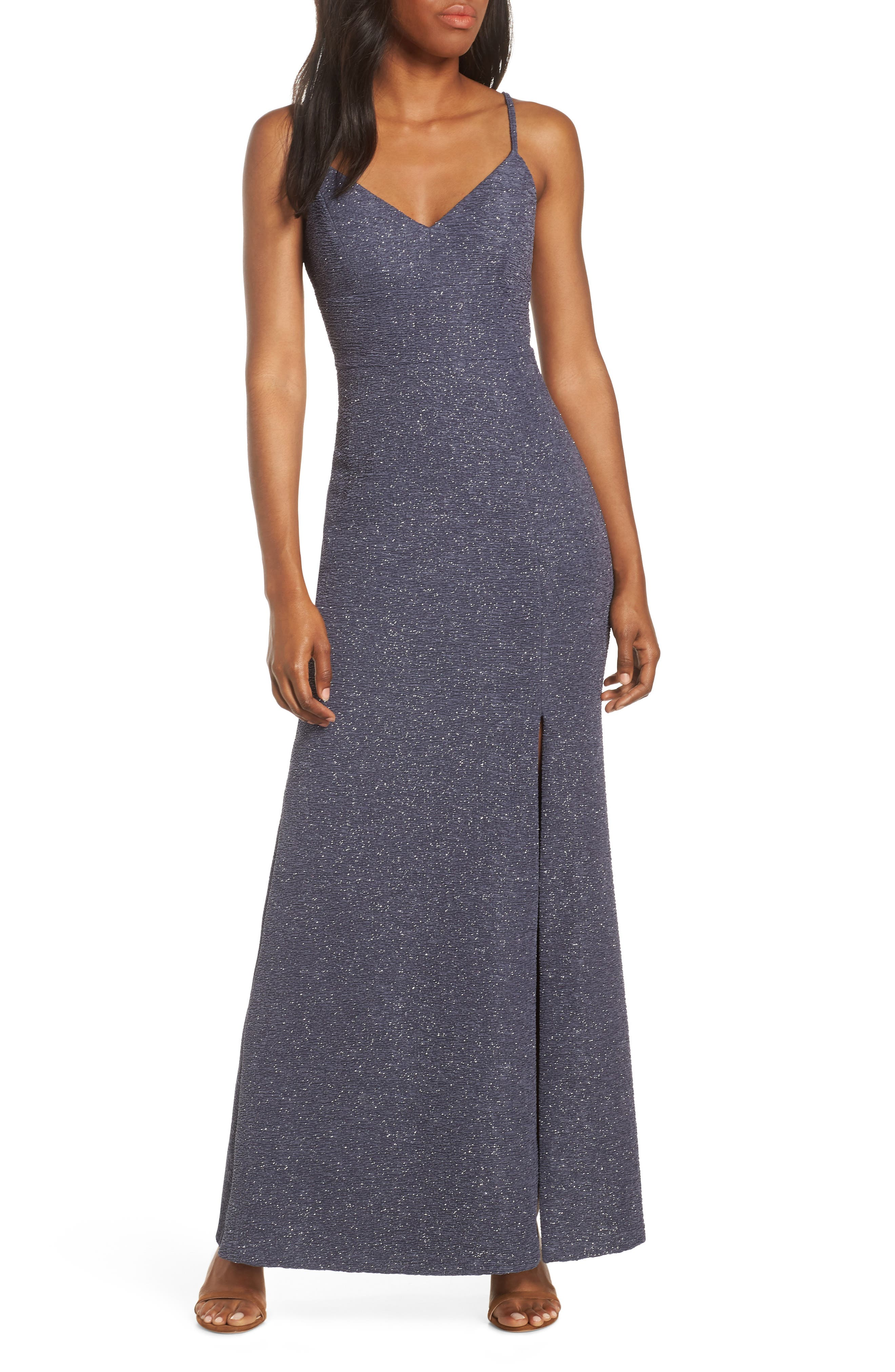 Glitter Knit Crepe Gown