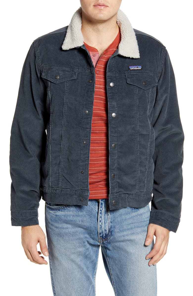 PATAGONIA Trim Corduroy Trucker Jacket, Main, color, FORGE GREY