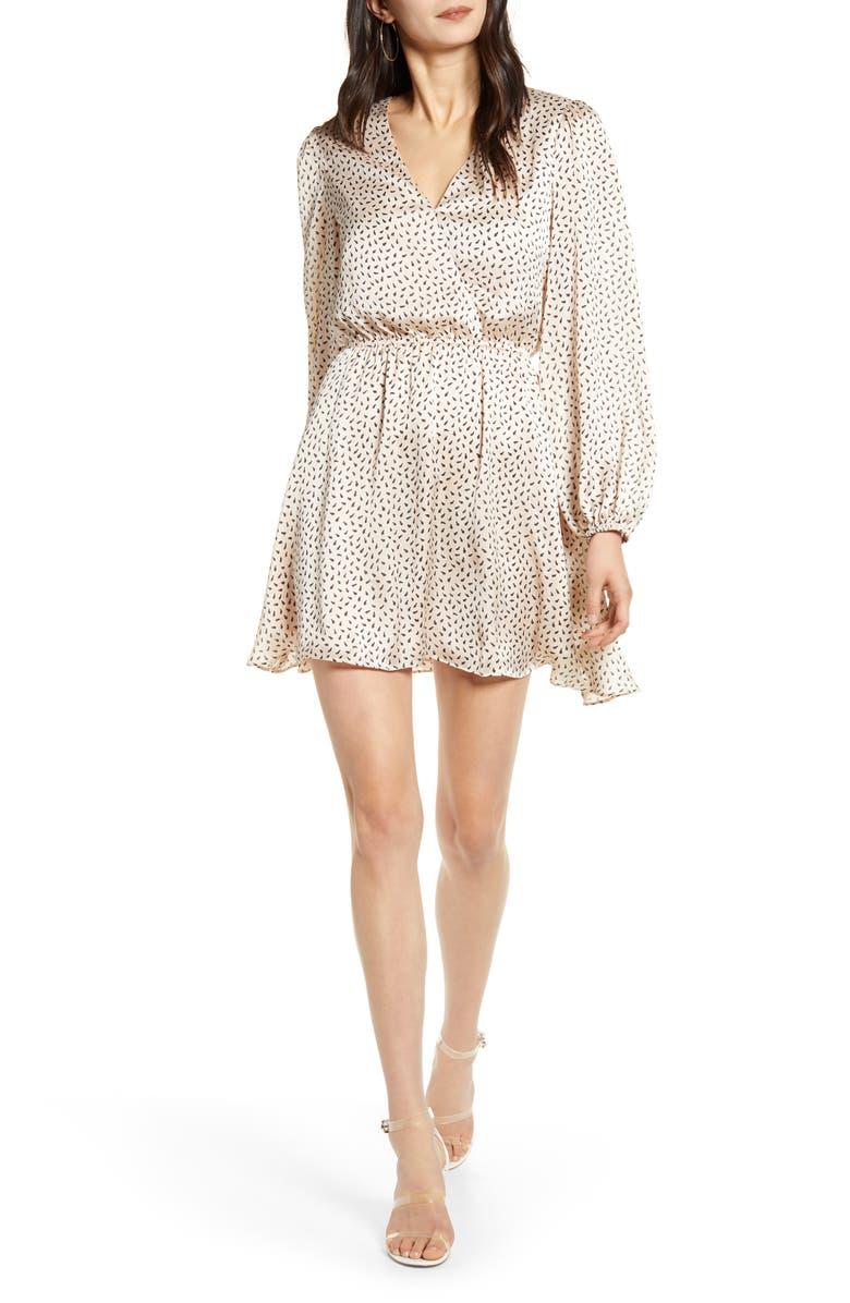 CHELSEA28 Long Sleeve Faux Wrap Dress, Main, color, BLACK- PINK WISP BUTTERFLY
