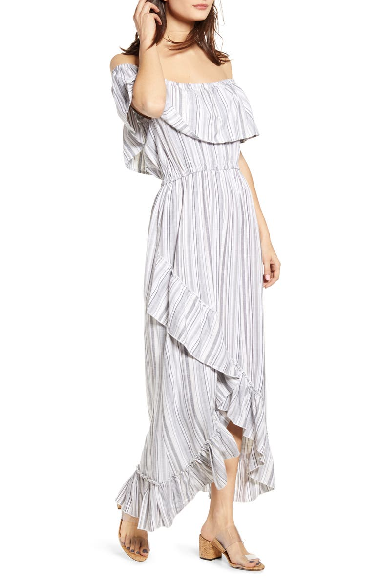 JACK Off the Shoulder Ruffle Maxi Dress, Main, color, OFF WHITE