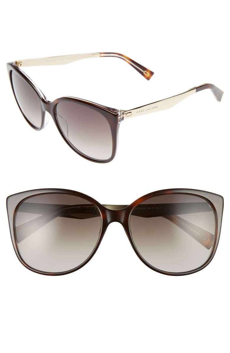 MARC JACOBS 56mm Gradient Lens Butterfly Sunglasses, Main, color, DARK HAVANA