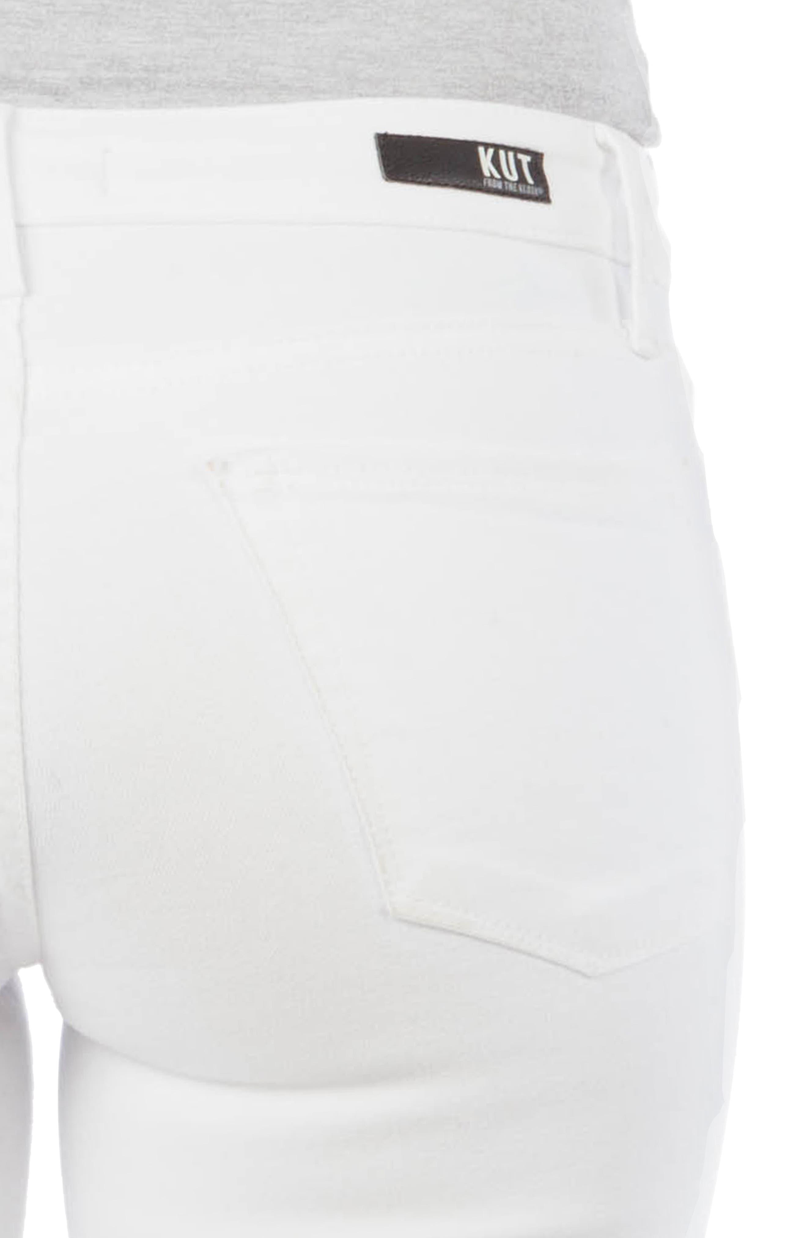 ,                             Stella Fray Hem Flare Jeans,                             Alternate thumbnail 4, color,                             OPTIC WHITE