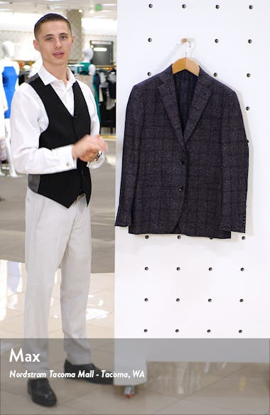 Trim Fit Windowpane Wool Sport Coat, sales video thumbnail