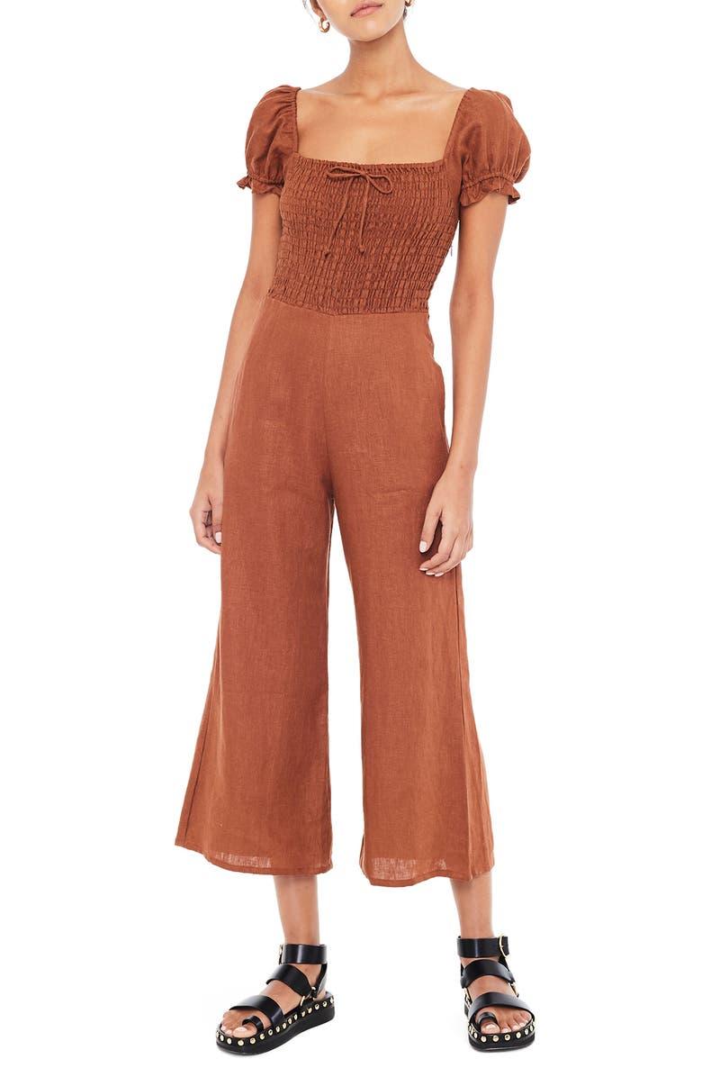 FAITHFULL THE BRAND Winnie Wide Leg Linen Jumpsuit, Main, color, PLAIN CHESTNUT