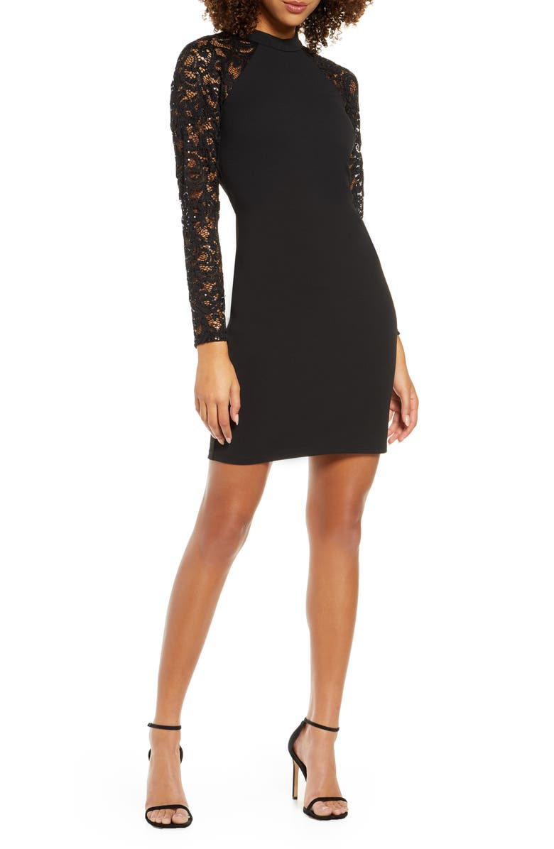 SEQUIN HEARTS Sequin Lace Long Sleeve Cocktail Dress, Main, color, BLACK